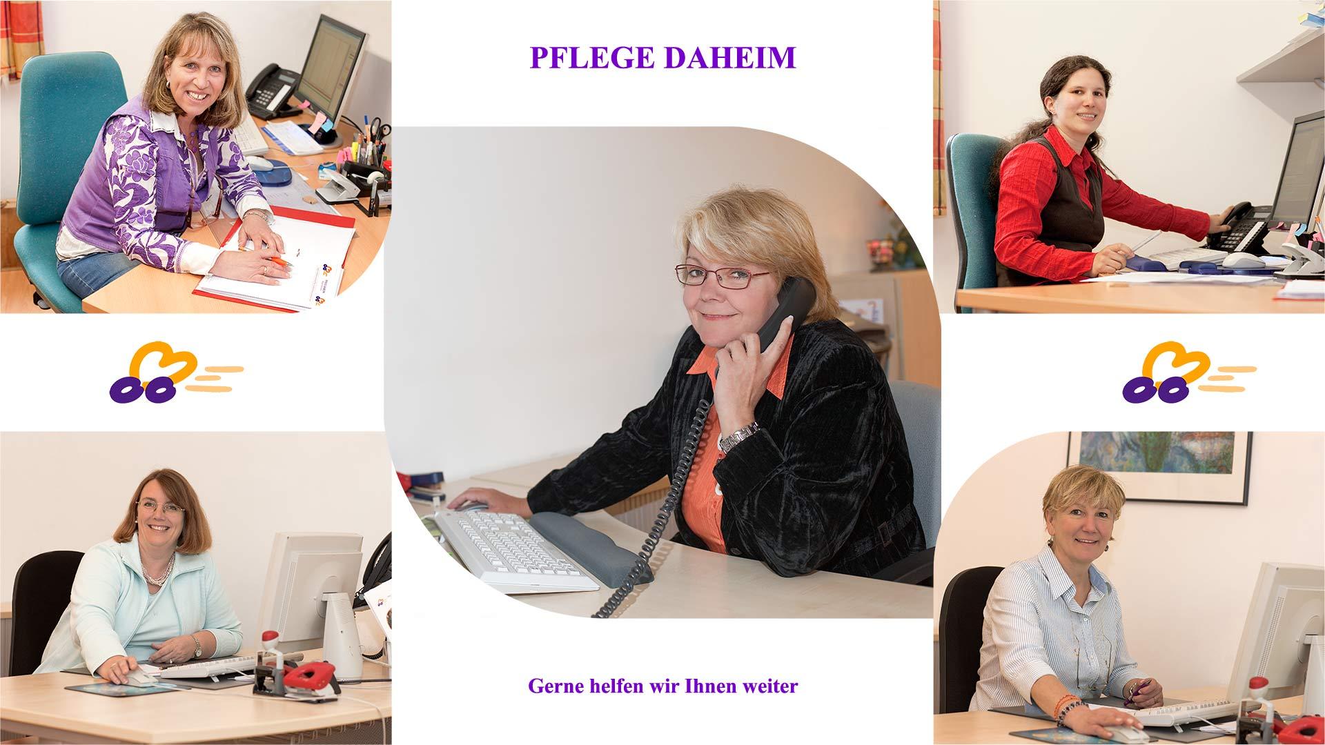 eine Fotomontage mit Portraits der Pflegedienstlöeiterin und Mitarbeiterinnen
