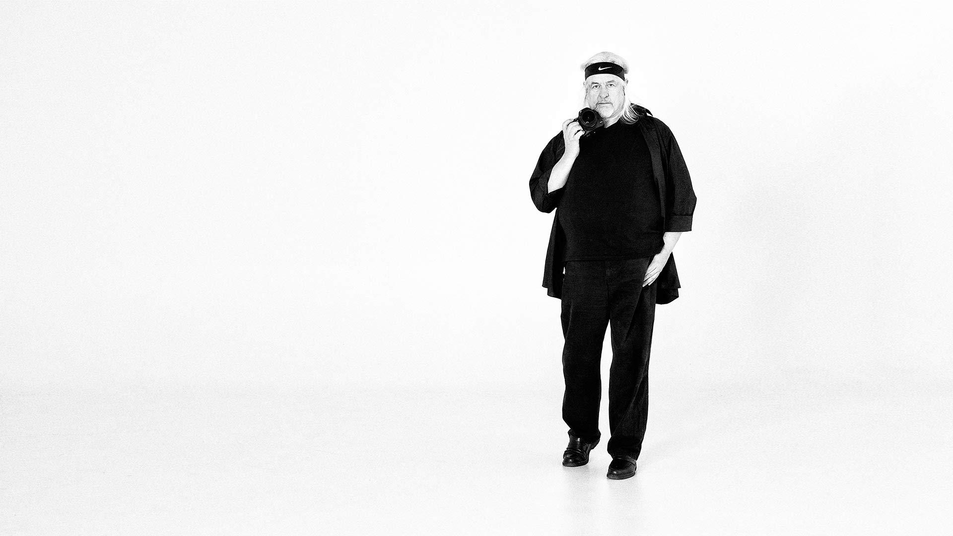 Selbstportrait des Münchner Fotografen Wolfgang Galow in Schwarz-Weiß